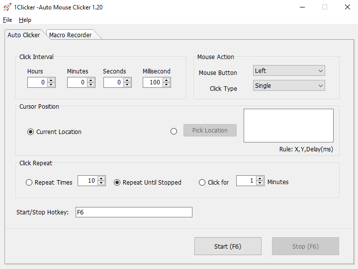 Free Auto Clicker for Windows Screenshot